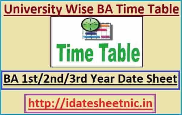 BA Time Table 2020