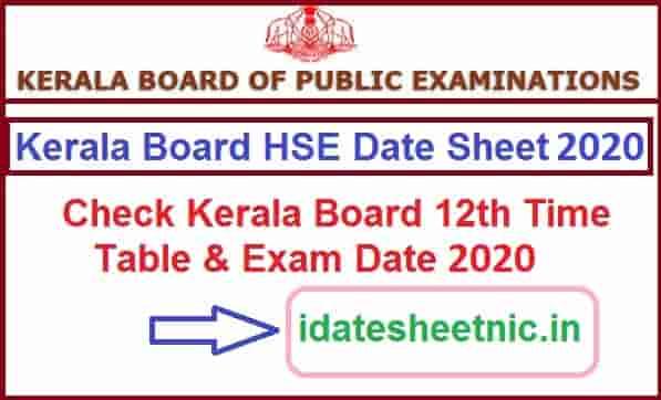 Kerala HSE Date Sheet 2020