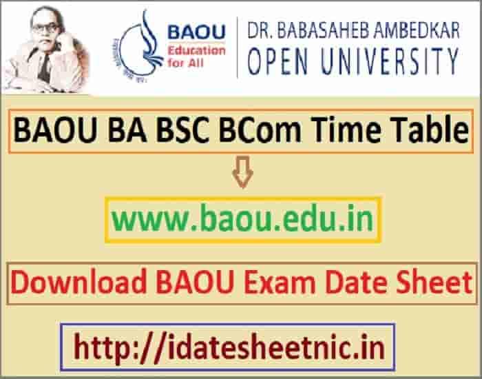BAOU Time Table 2019