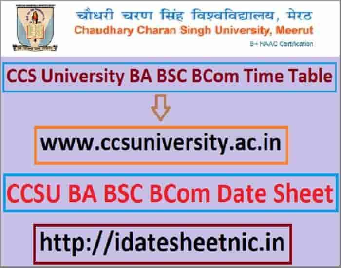 CCS University Exam Date Sheet 2021