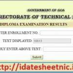 DTE Goa Diploma Exam Result 2021