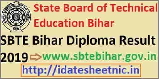 SBTE Bihar Diploma Result 2019 Polytechnic Even Semester April Exam Results