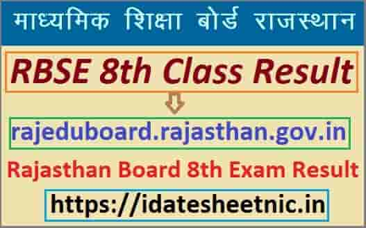 RBSE 8th Class Result 2020