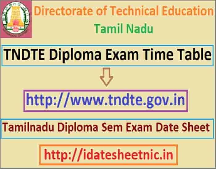 TNDTE Diploma Oct Exam Time Table 2019 download Diploma Date Sheet