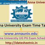 Anna University UG PG Exam Schedule 2021