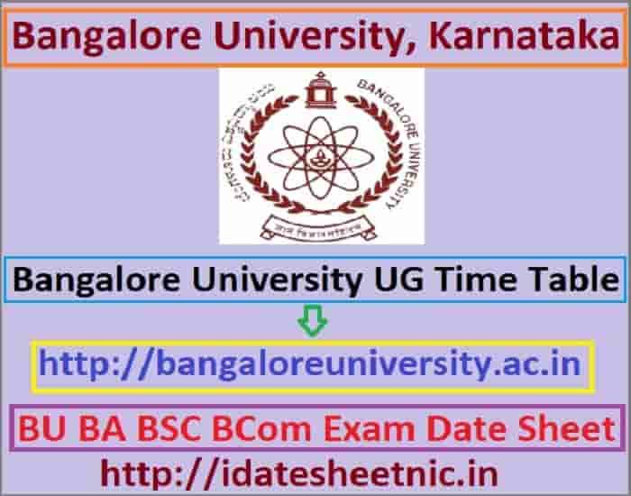Bangalore University Time Table 2019