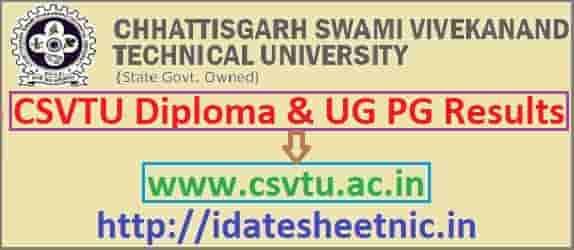 CSVTU Diploma Result 2019-20