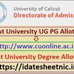 Calicut University UG PG Allotment Result 2021