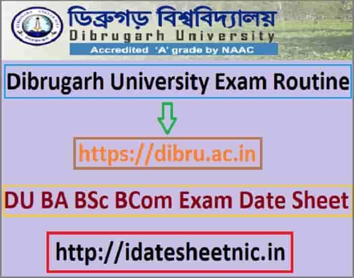 Dibrugarh University Exam Routine 2019-20