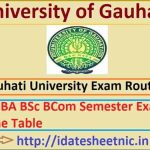 Gauhati University BA BSc BCom Time Table 2021