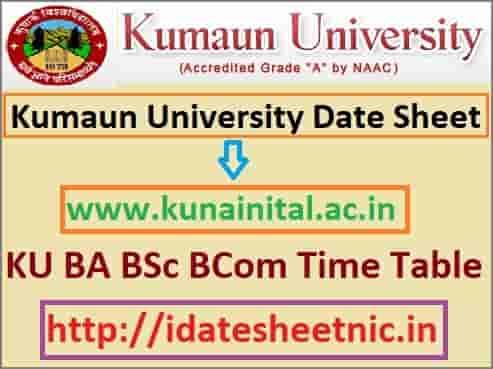 Kumaun University Date Sheet 2019-20