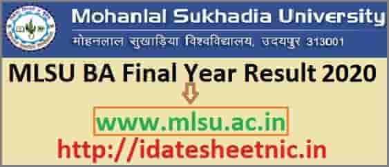 MLSU BA Final Year Result 2020