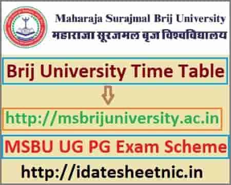 Brij University Time Table 2020