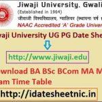Jiwaji University UG PG Time Table 2021