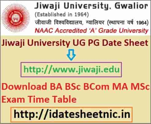 Jiwaji University Exam Date Sheet 2020