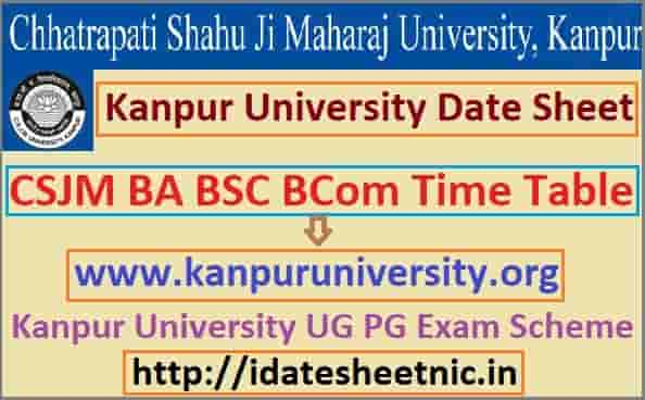 Kanpur University Date Sheet 2020