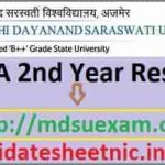 MDSU Ajmer BA 2nd Year Result 2020