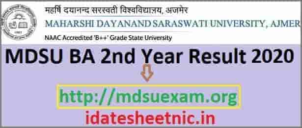 MDSU BA 2nd Year Result 2020