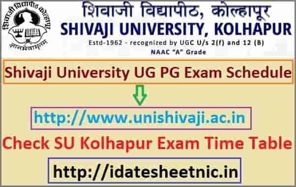 Shivaji University Exam Schedule 2020