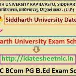 Siddharth University BA BSc BCom Time Table 2021