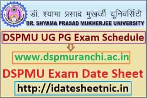 Dr. Shyama Prasad University Exam Schedule 2019-20