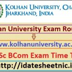 Kolhan University UG Exam Routine 2020