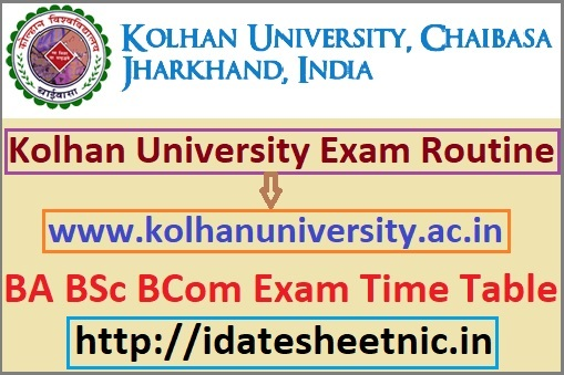 Kolhan University Exam Routine 2020
