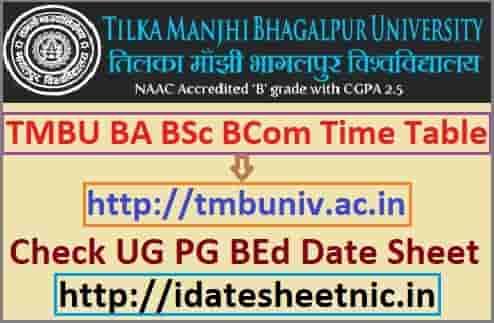 TMBU Time Table 2020