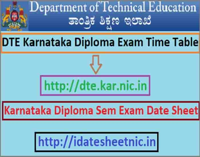 DTE Karnataka Time Table 2020