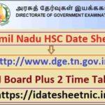 Tamil Nadu HSC Date Sheet 2021