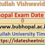 BU Bhopal UG PG Time Table 2021