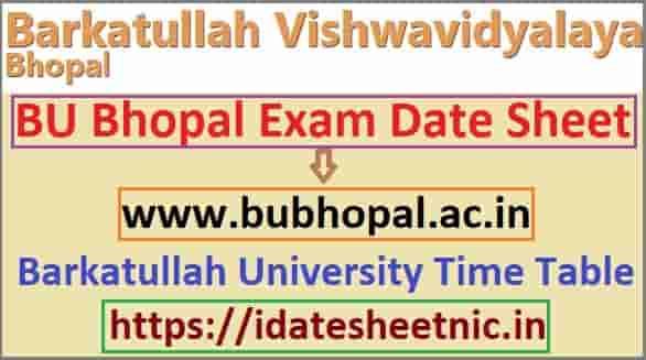 BU Bhopal Date Sheet 2020