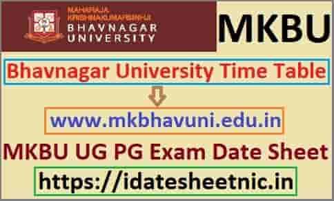 Bhavnagar University Time Table 2020