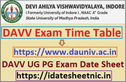DAVV Time Table 2020