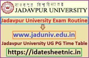 Jadavpur University UG PG Time Table 2022