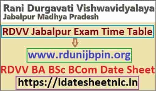 RDVV Jabalpur Time Table 2020