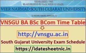 VNSGU BA BSc BCom Date Sheet 2021