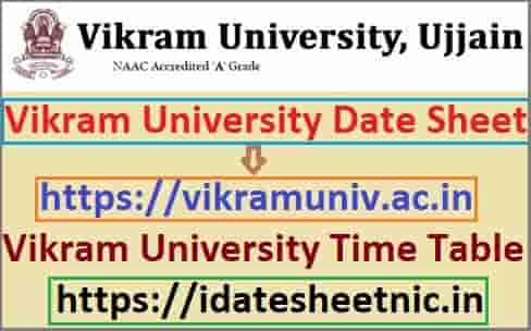 Vikram University Date Sheet 2020