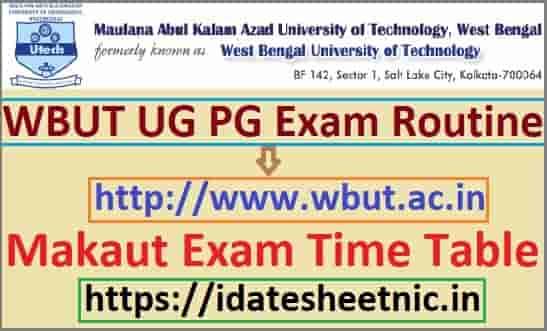 WBUT Exam Routine 2020