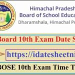 HP Board 10th Exam Date Sheet 2022