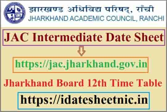 JAC Intermediate Date Sheet 2022