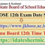 JKBOSE 12th Exam Date Sheet 2021