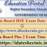 Kerala HSE Date Sheet 2021