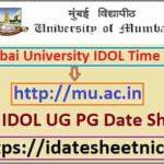 Mumbai University IDOL Time Table 2020