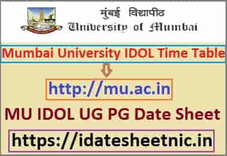 Mumbai University IDOL Time Table 2020