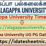 Alagappa University Exam Time Table 2021