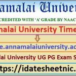 Annamalai University UG PG Date Sheet 2021