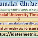 Annamalai University UG PG Date Sheet 2021