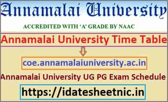 Annamalai University Time Table 2020
