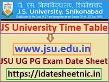 JS University Time Table 2020